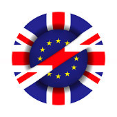 flag EU and  Great Britain and sign forbidden on white background. Isolated 3D illustration.