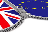 flag EU and  Great Britain and zipper. 3D image.