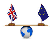 flag EU and  Great Britain on scales. Isolated 3D illustration
