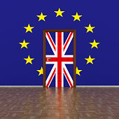 flag EU and  Great Britain on wall and door. 3D image.