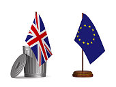 flag EU and  Great Britain on white background. Isolated 3D illustration.