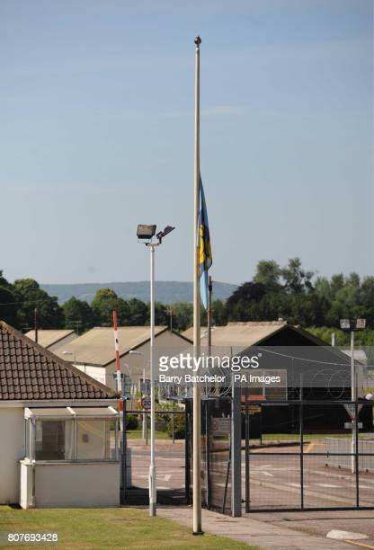 A flag flies at half mast at 40 Commando Royal Marines' Norton Manor Camp in Norton Fitzwarren Taunton Another Royal Marine has died in hospital in...