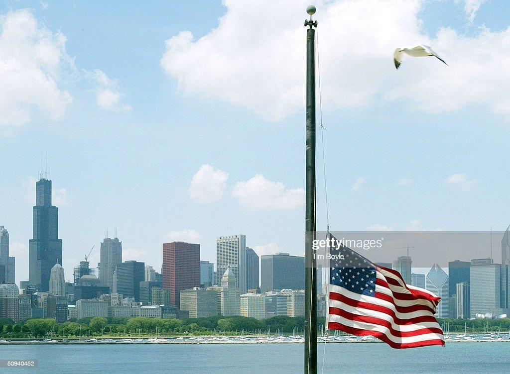 Flag Flies At Half-Staff For Reagan