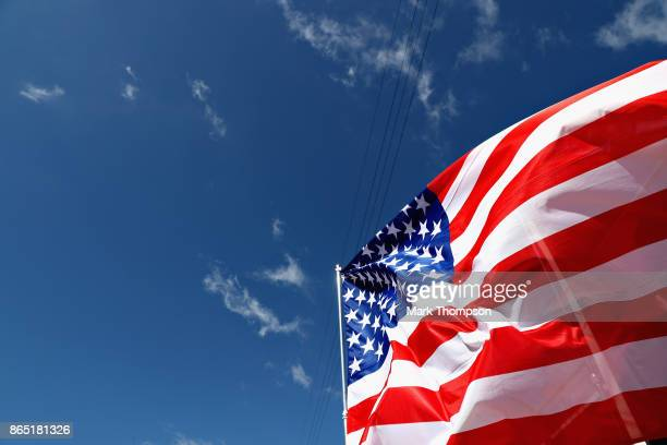 USA flag flies before the United States Formula One Grand Prix at Circuit of The Americas on October 22 2017 in Austin Texas