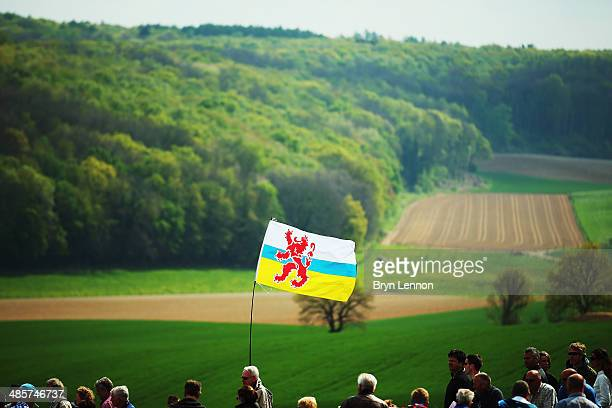 A flag flies during the 49th edition of the Amstel Gold Race on April 20 2014 in Maastricht Netherlands The 251km route from Maastricht to Valkenburg...
