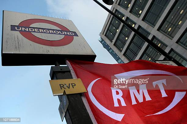 RMT flag flies outside Victoria Station as workers on the London Underground stage a fourth 24 hour strike on November 29 2010 in London England...