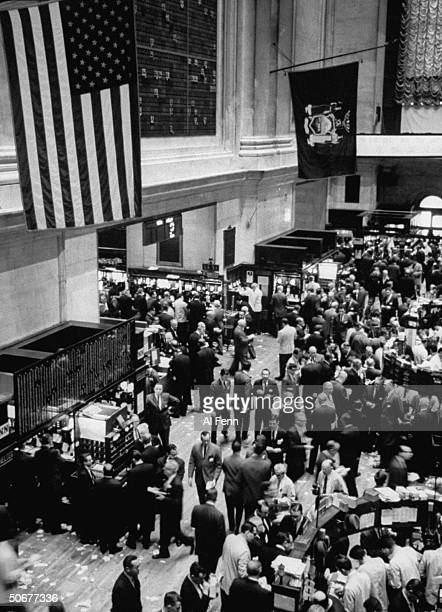 Flag flying at half mast at stock exchange on first full day of trading after the assassination of John F Kennedy