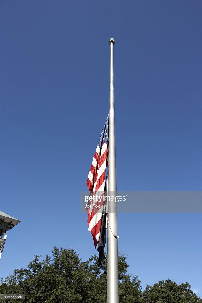 US flag flying at half mast, Florida, USA
