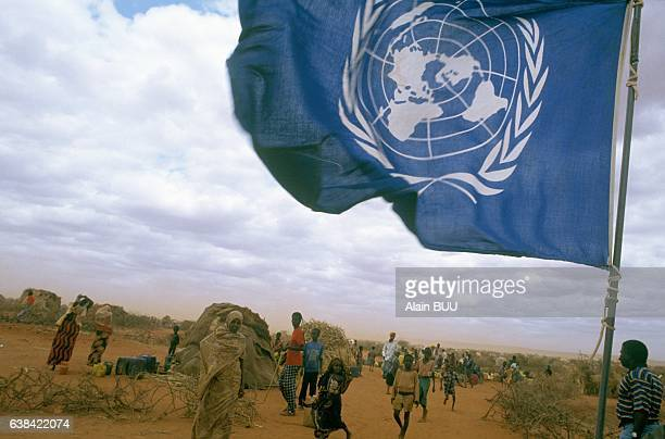 UNO flag in the refugee camp of Mandera Kenya in August 1992