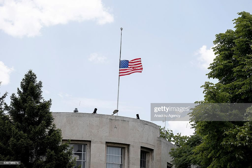 USA flag is at half mast at US Consulate in Ankara Turkey on June 13 2016 after the terrorist massacre at the gay night club in Orlando