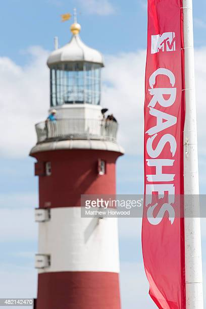A MTV flag is dispalyed at the MTV Crashes Plymouth concert at Plymouth Hoe on July 22 2014 in Plymouth England