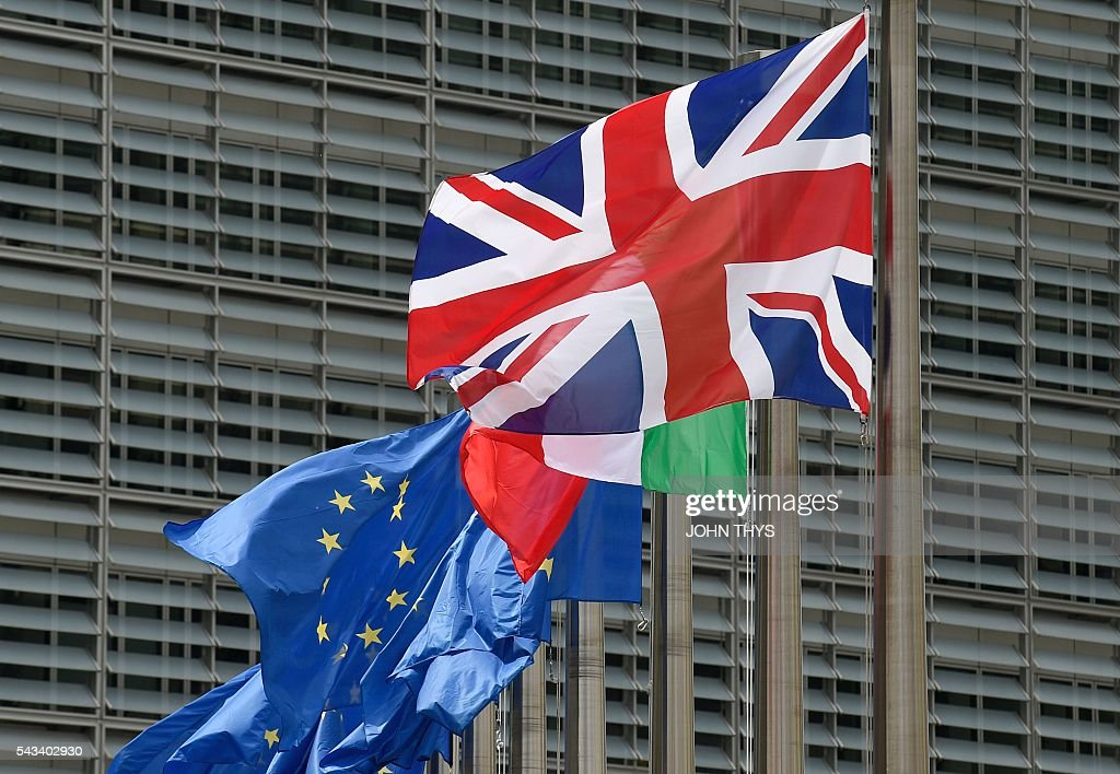 Flag is pictured at the EU headquarters in Brussels on June 28, 2016. / AFP / JOHN