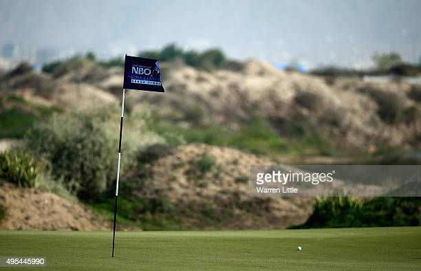 A flag is pictured on a green during proam ahead of the NBO Golf Classic Grand Final at the Almouj Golf Club The Wave on November 3 2015 in Muscat...