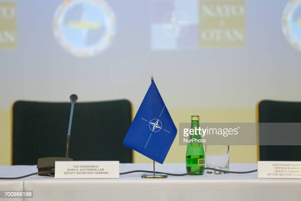 A NATO flag is seen ahead of a press conference on the CWIX interoperability training weeks in Bydgoszcz Poland on 22 June 2017