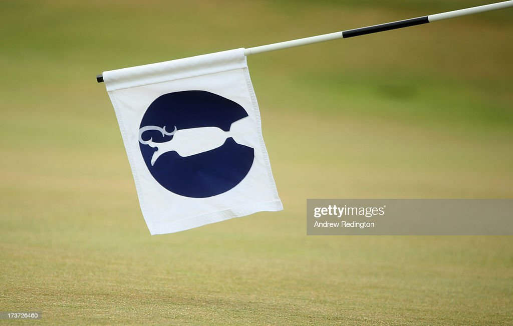 A flag is seen ahead of the 142nd Open Championship at Muirfield on July 17, 2013 in Gullane, Scotland.