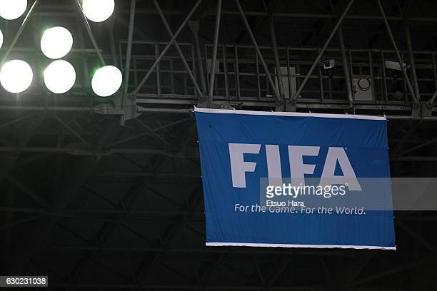 FIFA flag is seen during the FIFA Club World Cup 3rd place match between Club America and Atletico National at International Stadium Yokohama on...