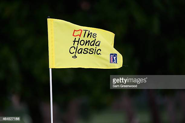 A flag is seen during the first round of The Honda Classic at PGA National Resort Spa Champion Course on February 26 2015 in Palm Beach Gardens...
