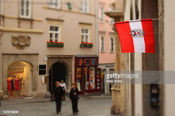 A flag is seen in a street on May 29 2010 in Graz Austria