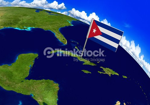 Flag Marker Over Country Of Cuba On World Map Stock Photo | Thinkstock