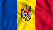 Flag moldova waving in the wind Moldovan symbol