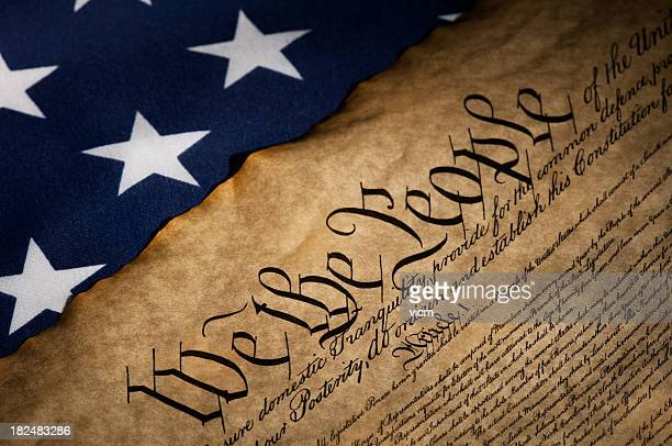 USA flag next to the Bill of Rights