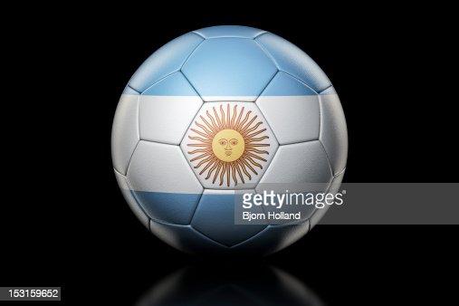 Flag of Argentina on Soccer Ball : Stock Photo