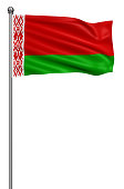 Flag of Belarus with flagpole waving in the wind against white background,3d illustration