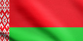 Belarusian national official flag. Patriotic symbol, banner, element, background. Flag of Belarus waving in the wind with detailed fabric texture