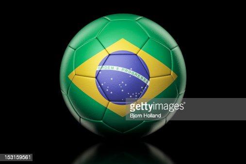 Flag of Brazil on Soccer Ball : Stock Photo