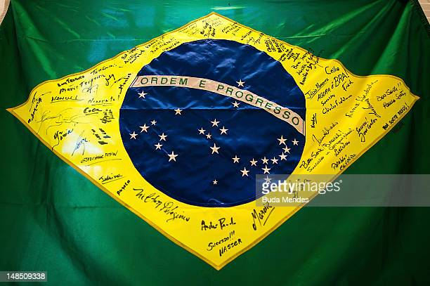 Flag of Brazil signed by all athletes from brazilian national team of Judo during a training session before the Olympic Games London 2012 at...