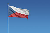 Flag of Czech Republic in front of a clear blue sky