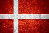 flag of Denmark or  banner on vintage background