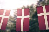 Flag of Denmark hanging pennants