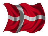 Danish national official flag. Patriotic symbol, banner, element, background. Correct colors. Flag of Denmark with real detailed fabric texture wavy isolated on white, 3D illustration