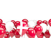Flag of denmark, with balloons isolated on white. 3D illustration