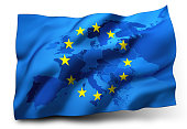 Flag of European Union blowing in the wind, Europe map inside. 3D illustration