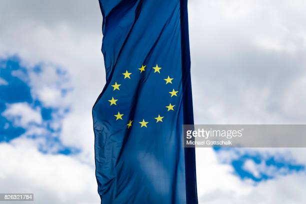 Flag of European Union with yellor stars or golden stars on August 04 2017 in Wolfsburg Germany