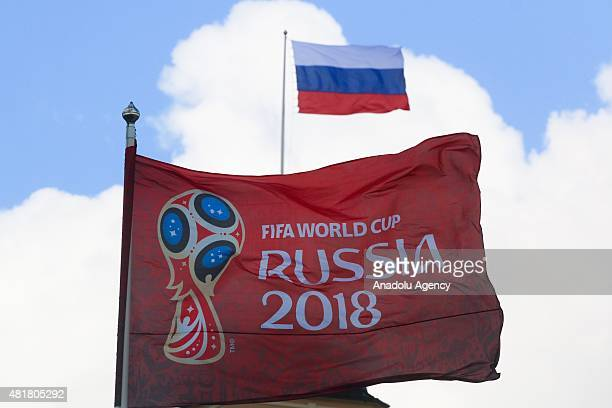 Flag of Fifa 2018 World Cup Russia and Flag of Russian Federation seen during preparations to Preliminary draw for the FIFA World Cup Russia at...
