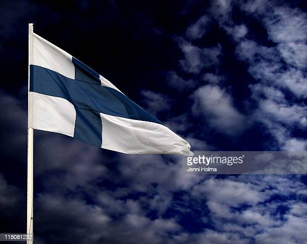 Flag of Finland waving in wind