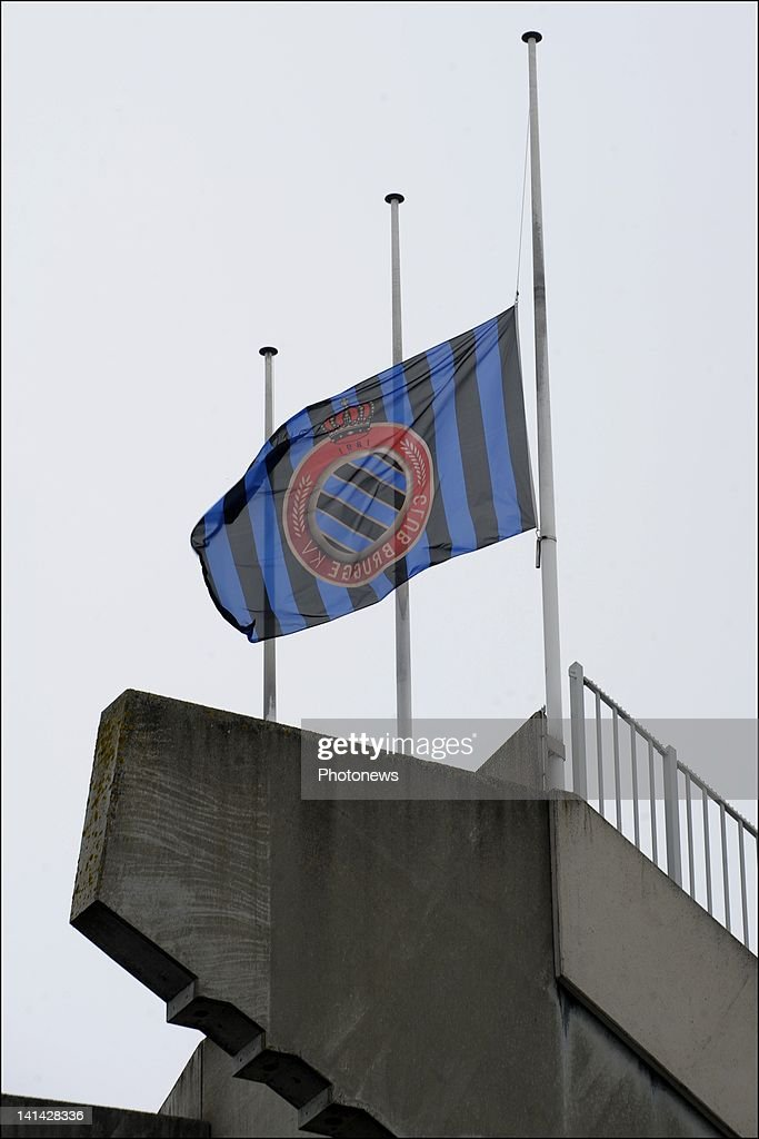 A flag of football team Club Brugge KV at half mast on the day of national mourning on March 16,2012 in Brugge,Belgium. Belgium held a national day of mourning to remember all the who died in a coach crash earlier this week. The accident occurred when a school bus carrying 11 -12 year olds, returning from a skiing holiday, crashed into a tunnel wall, killing 28 of the 52 passengers.