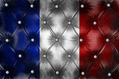 Flag of France on capitone checkered coach leather decoration