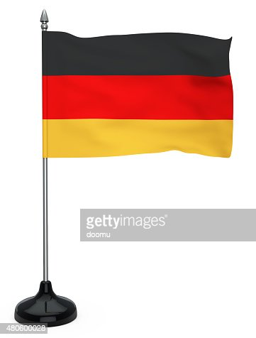 Flag of Germany with flagpole : Stock Photo