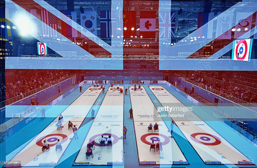 A flag of Great Britain on show during the Wheelchair Curling Round Robin Session 7 during day four of the Sochi 2014 Paralympic Winter Games at Ice...