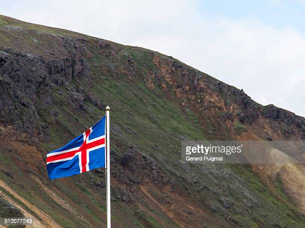 A flag of Iceland moves thanks to the wind