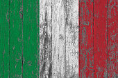 Flag of Italy painted on worn out wooden texture background.
