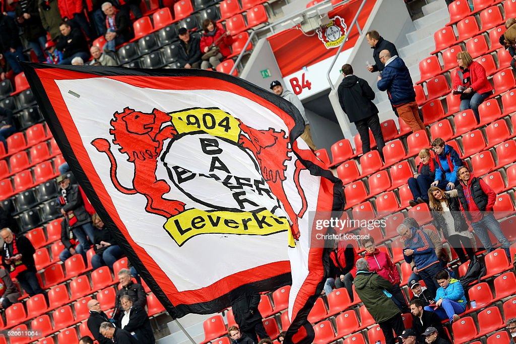 A flag of Leverkusen is seen during the Bundesliga match between Bayer Leverkusen and Hertha BSC Berlin at BayArena on April 30, 2016 in Leverkusen, Germany. The match between Leverkusen and Berlin ended 2-1.