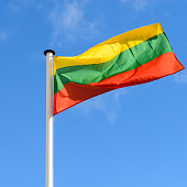 flag of Lithuania against the blue sky