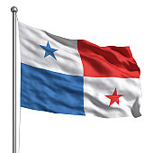 ce6684b9f90 Panama flag. Rendered with fabric texture (visible at 100%). Clipping path
