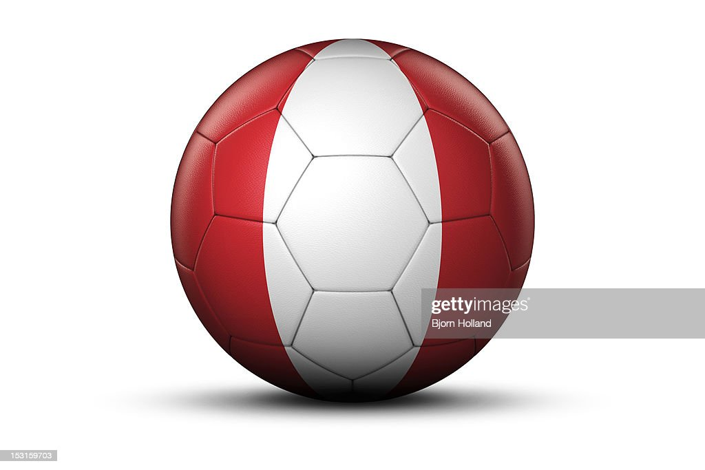 Flag of Peru on Soccer Ball : Stock Photo