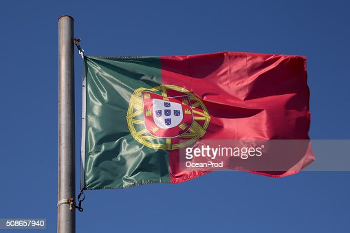 Flag of Portugal in the wind, Portugal : Stock Photo